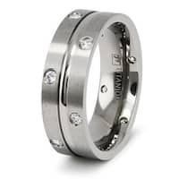 8mm Satin Finished Titanium Ring with 12 CZs  (Sizes 6-12)