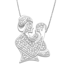 Mothers Day Necklace and Pendant Set Mother and Child 10K White Gold 0.08cttww Diamond