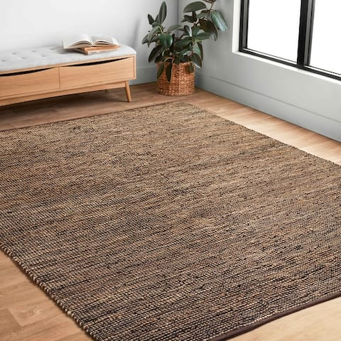 Alexander Home Farmhouse Jute and Leather Hand -woven Area Rug