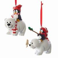 Kurt Adler Penguins on Polar Bears  Holiday Ornaments Set of 2
