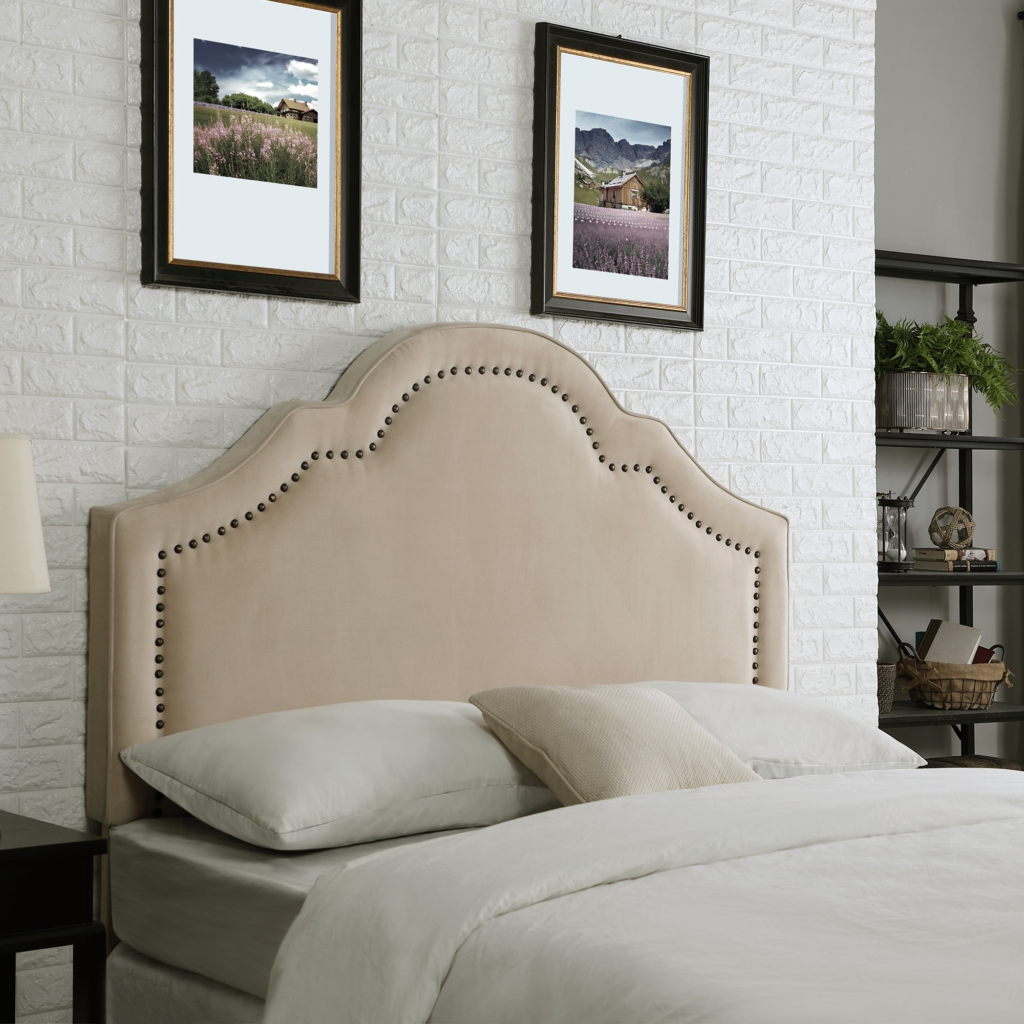 Firstime Co Verona Beige Velvet Headboard Full Queen Ivory Upholstered Fabric American Crafted 64 X 4 X 60 In Overstock 25640267