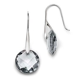 Chisel Stainless Steel Polished Grey Glass Shepherd Hook Earrings