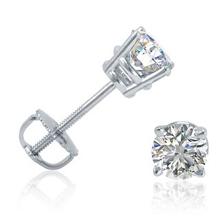 Amanda Rose Collection 1/2ct tw Diamond Stud Earrings in 14K White Gold with Screw Backs