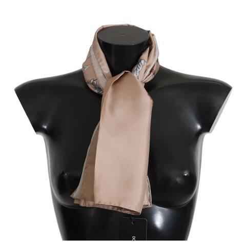 Dolce & Gabbana Beige 100% Silk Bird Print Wrap 100cm x 100cm Women's Scarf - one-size
