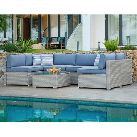 COSIEST 7-Piece Outdoor Sectional Wicker Sofa With Pillows