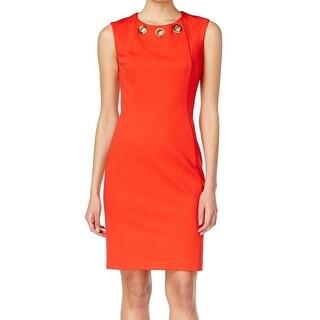 Calvin Klein NEW Red Women's Size 12 Sheath Grommet-Trim Scuba Dress