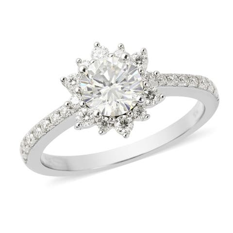 Shop LC 925 Sterling Silver Rhodium Over Moissanite Halo Ring Ct 1.4