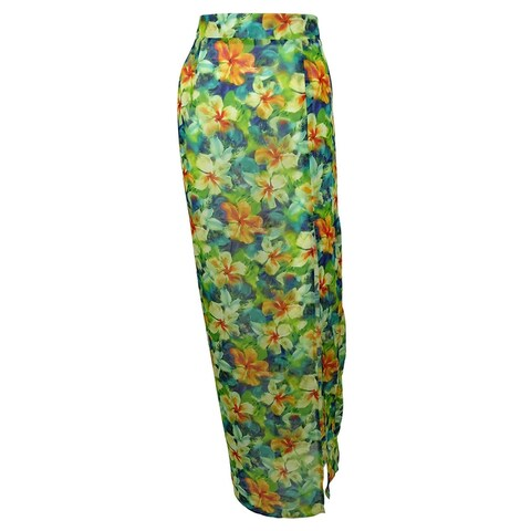 Miken Women's Print Maxi Skirt Dress Swin Cover ups - multi