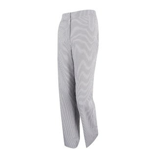 Kasper Women's Citrus Grove Seersucker Kate Classic Fit Pants - WHITE/BLACK