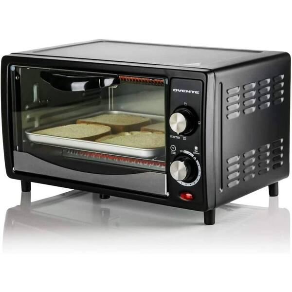Shop Black Friday Deals On Ovente Countertop 4 Slice Convection Toaster Oven Black To5810b Overstock 30429193