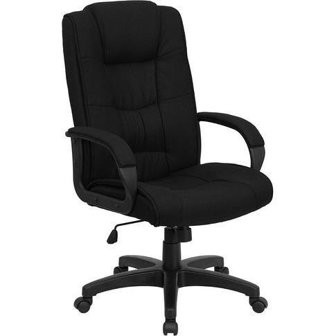 Alexandria Bay High Back Black Fabric Stylish Executive Swivel Chair w/Arms