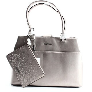 Calvin Klein NEW Gray Faux Leather Novelty Farra Pouch Tote Bag Purse