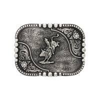 Montana Silversmiths Western Belt Buckle Bullrider Silver Black - 4.5 x 3.375