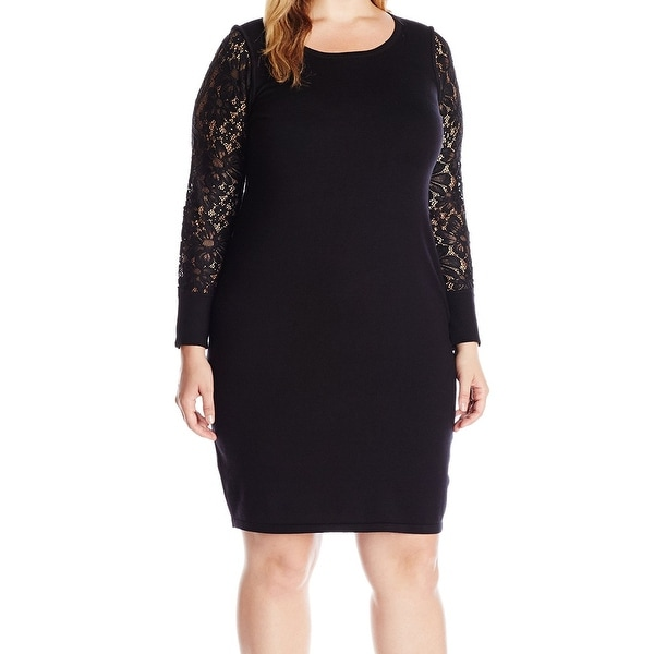 1523faca5a4a Shop Calvin Klein NEW Black Womens Size 2X Plus Lace Sleeve Sweater Dress -  Free Shipping On Orders Over  45 - Overstock - 18322488