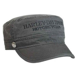 Harley-Davidson Men's Hubcap Embroidered H-D Painter's Cap, Wash Black PC102921