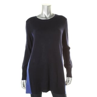 Aqua Womens Cashmere Colorblock Crewneck Sweater