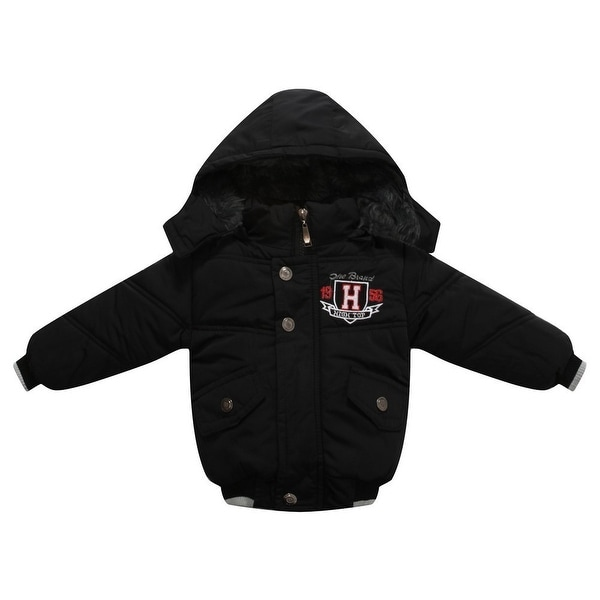 Richie House Baby Boys Black Badge Embroidery Padded Sport Jacket 12M