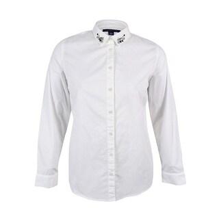 Tommy Hilfiger Women's Embellished Long Sleeve Shirt - xL