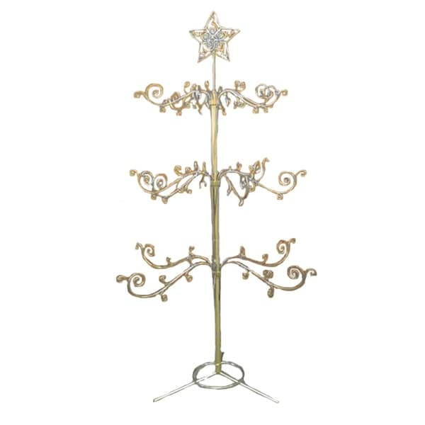 4 gold metal christmas ornament display tree with star and scrolled branches - Metal Christmas Tree Ornament Display
