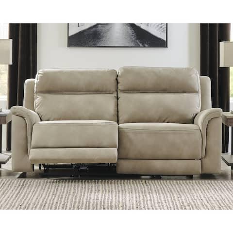 Next-Gen DuraPella Contemporary 2 Seat Power Reclining Sofa w/ Adjustable Headrest, Tan