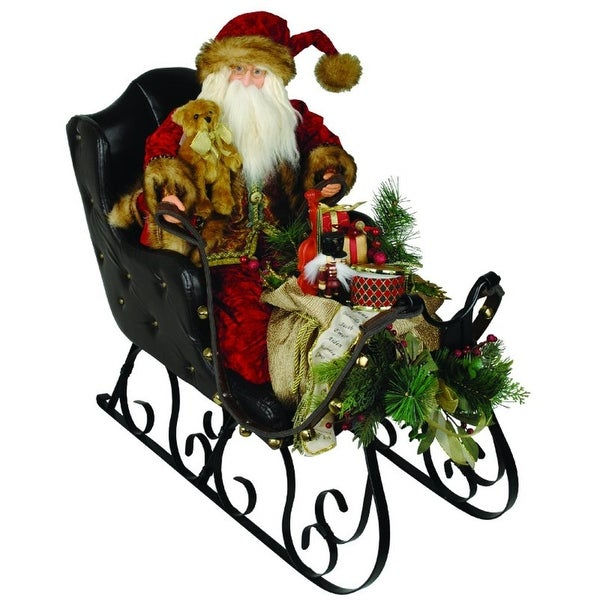 "30"" Elegant Crushed Velvet Santa Claus in Black Leather Sleigh Christmas Figure - multi"