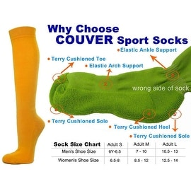 Golden Yellow Couver Knee High Unisex Sports Athletic Baseball Softball Socks(3 Pairs)