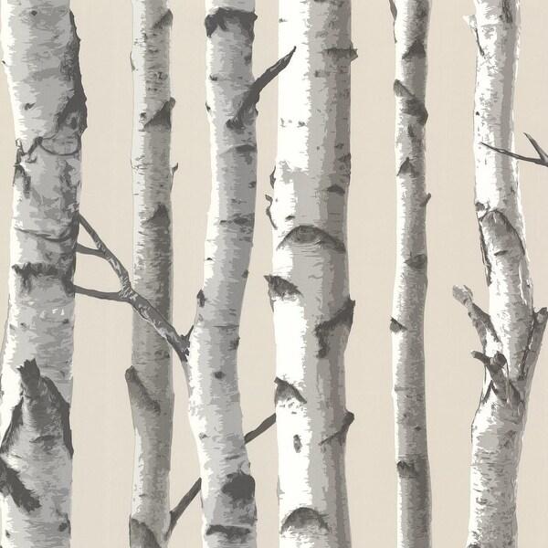 Brewster TLL21499 Tuxbury Beige Birch Tree Wallpaper - beige birch tree - N/A