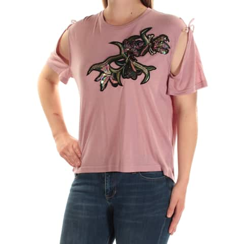 BUFFALO Womens Pink Cold Shoulder Embellished Short Sleeve Jewel Neck Top Size: M