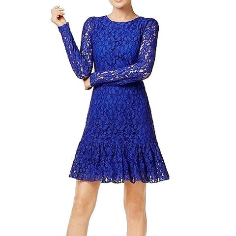 Calvin Klein Blue Womens Size 4P Petite Ruffled Hem Sheath Dress