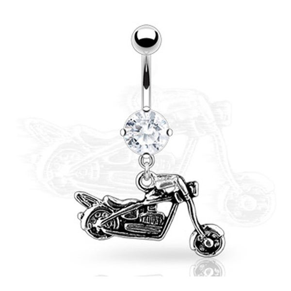 """Navel Belly Button Ring Round CZ with Motorcycle Dangle - 14GA 3/8"""" Long"""