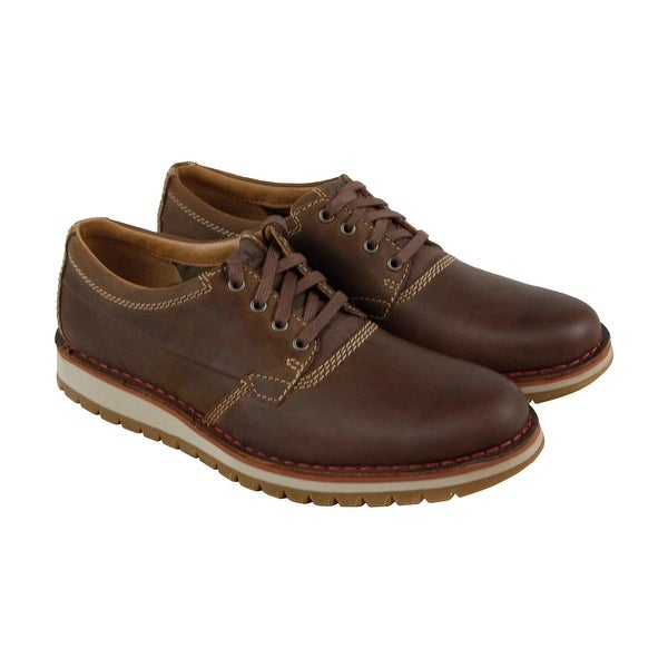 Clarks Varby Stride Mens Tan Leather Casual Dress Lace Up Oxfords Shoes