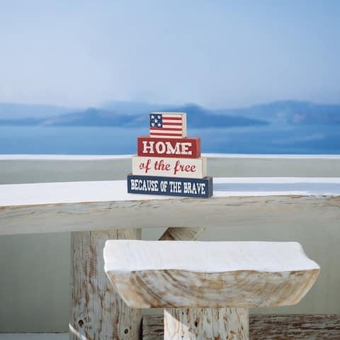 Glitzhome Patriotic Free Standing Table Decor