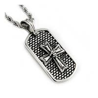 Stainless Steel Men's Dog Tag Pendant w/ Rope Chain - 24 inches