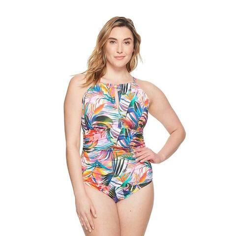 Ralph Lauren Women Plus Size High-Neck One-Piece Swimsuit - Multi