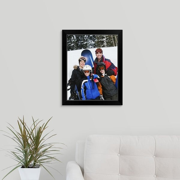 """""""Family portrait with snowboards"""" Black Framed Print"""