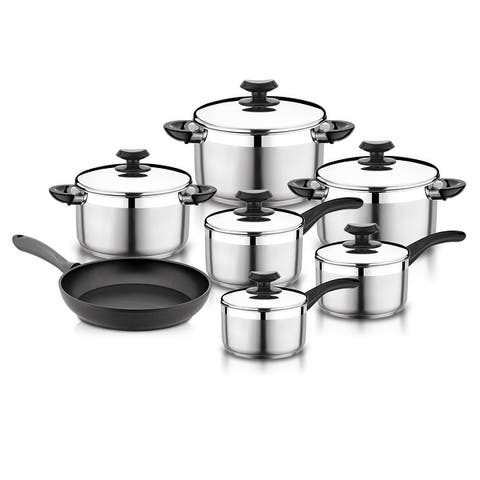 YBM Home Stainless Steel 13-Piece Cookware Set, Terrific Mirror Silver, y1100 - 9 Quart