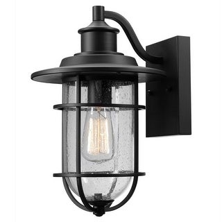 Globe 44094 Outdoor Wall Sconce w/ Seeded Glass Shade, Black