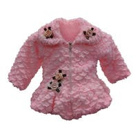 Little Girls Pink Faux Floral Embellishment Zipper Closure Coat 2T-4T