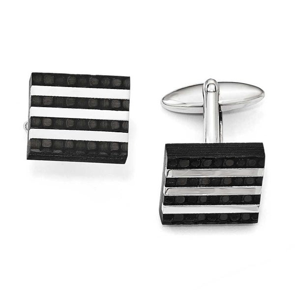 Chisel Stainless Steel Polished and Brushed Carbon Fiber Cuff Links