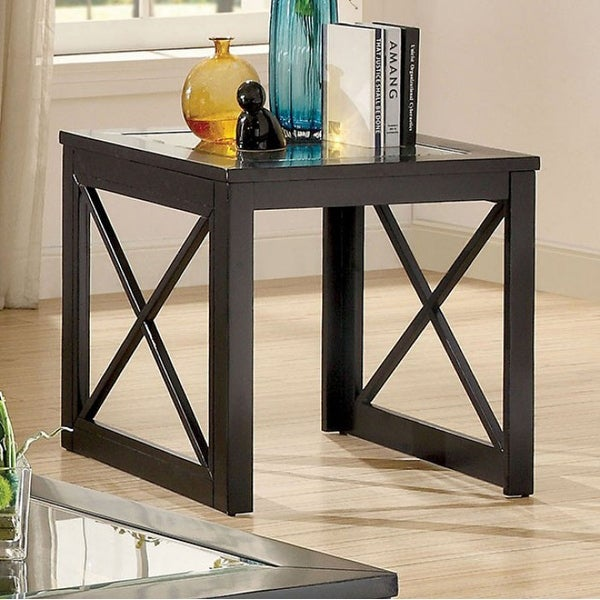 Contemporary End Table, Black Finish
