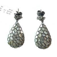 Sterling Silver Genuine White Diamond Slices Earrings in Black Rhodium