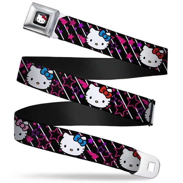 Hello Kitty W Red Bow Full Color Black Hello Kitty Repeat W Stars & Bolts Seatbelt Belt