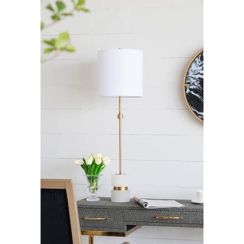 Alabaster With Metal Buffet Lamp