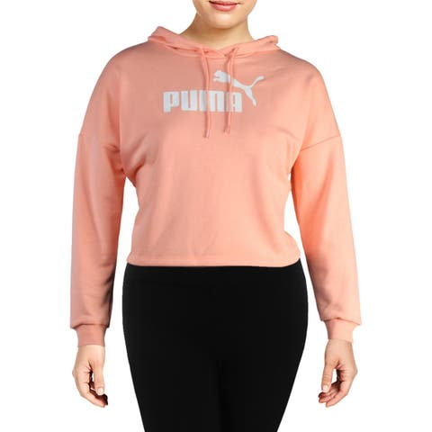Puma Womens Essentials Logo Hoodie Cropped Relaxed Fit