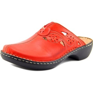 Spring Step Latia Women Round Toe Leather Red Clogs