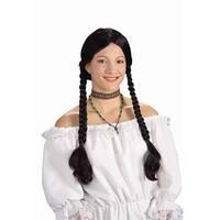 Long Black Braided Adult Costume Wig