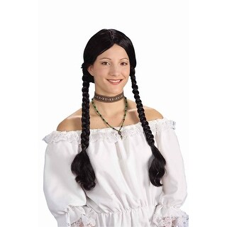 Long Black Braided Adult Costume Wig