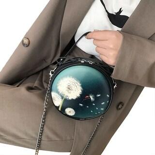 QZUnique Women's PU Leather Bag Top-handle Tote Bag 3D Dandelion Digital Printing Wristlet Pouch Evening Bag Purse