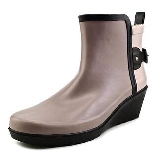 Chooka Colorblocked Wap Wedge Bootie Round Toe Synthetic Rain Boot