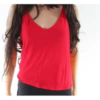 LIME BLUE Red Women's Size Large L V-Neck Cropped Tank Cami Top